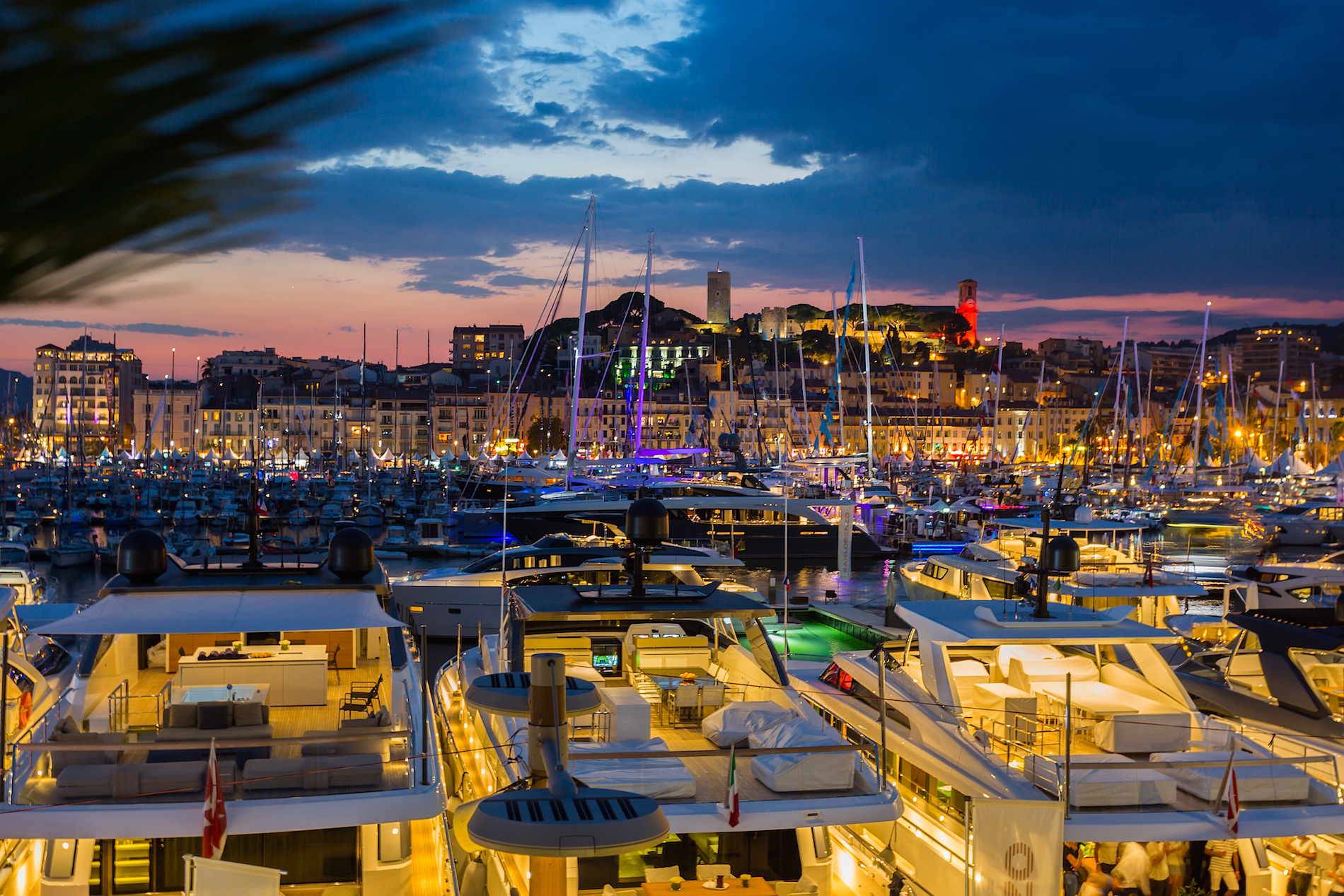 Sunset at Cannes Yachting Festival, France